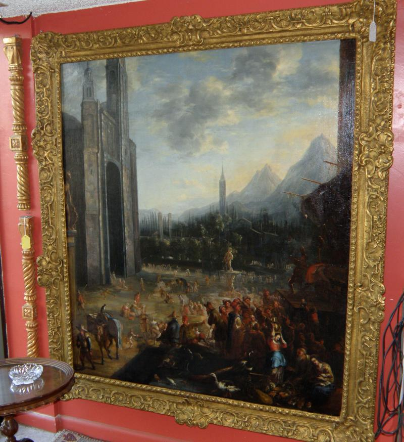 1600s Old Master Dutch Painting signed J. L.  (Johannes Lingelbach), Old City Vi