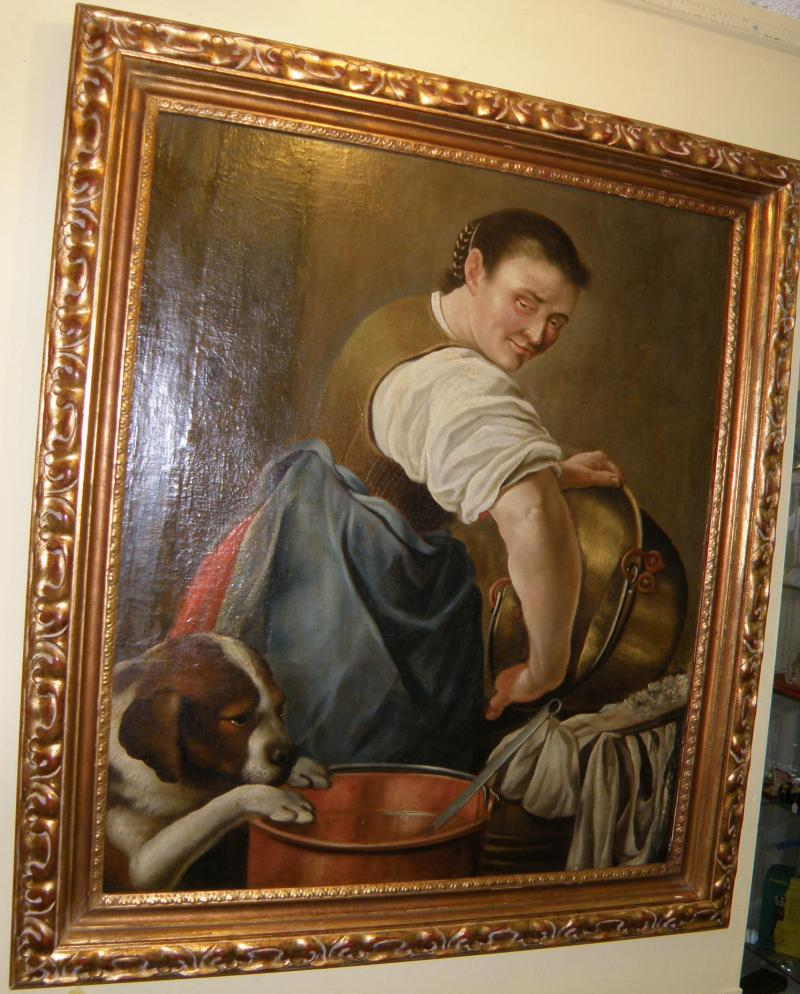 18th Century painting, Kitchen Scene of a Woman with a dog by Jacobsen, signed.