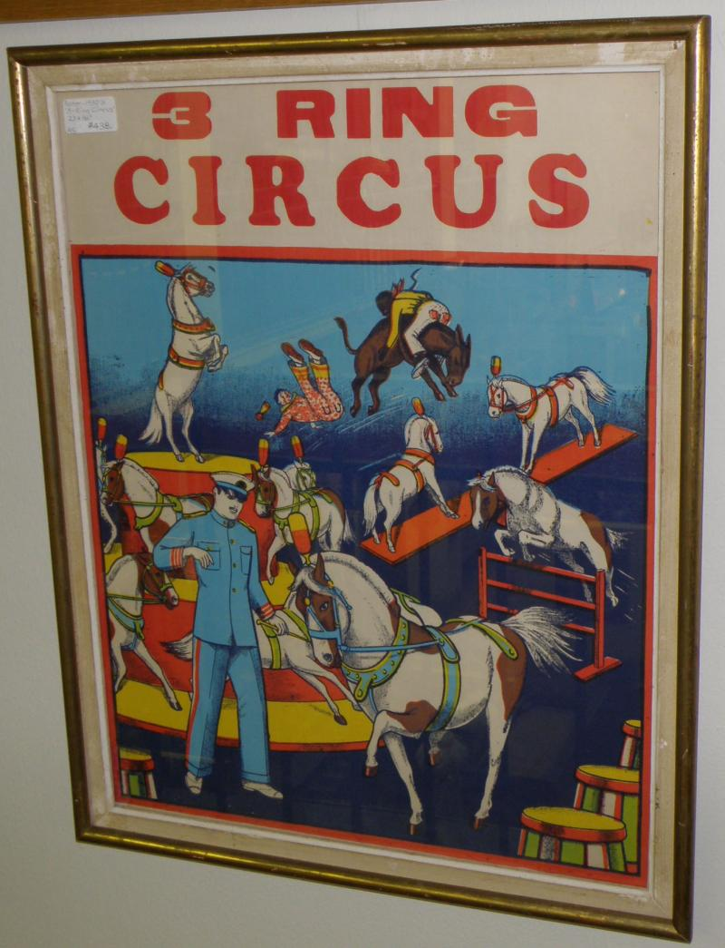 1930's Poster. '3-Ring Circus'  23 x 18