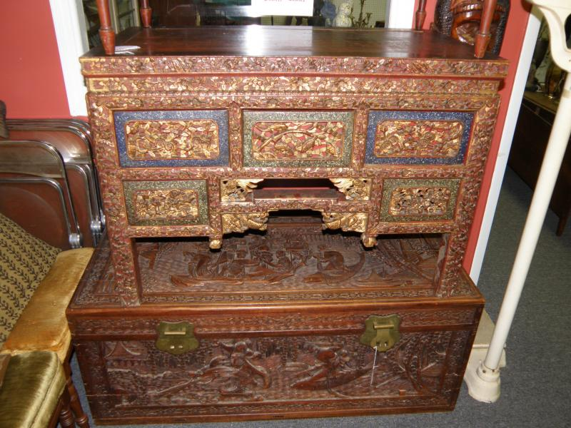 19th C. carved Chinese chest