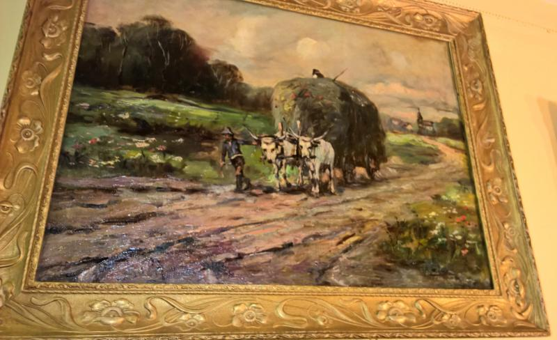 19th Century Painting, 'Farmer with Bull Cart'. Signed.