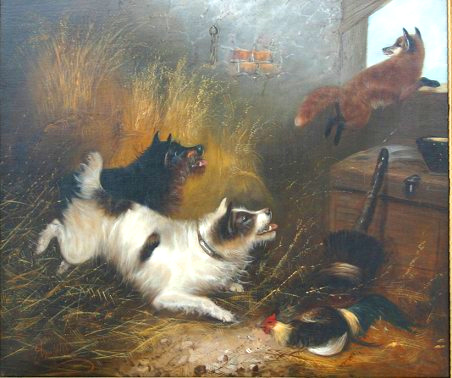 ARMFIELD, Edward, (British, 1817-1896   Two Terriers Chasing Fox From the Barn