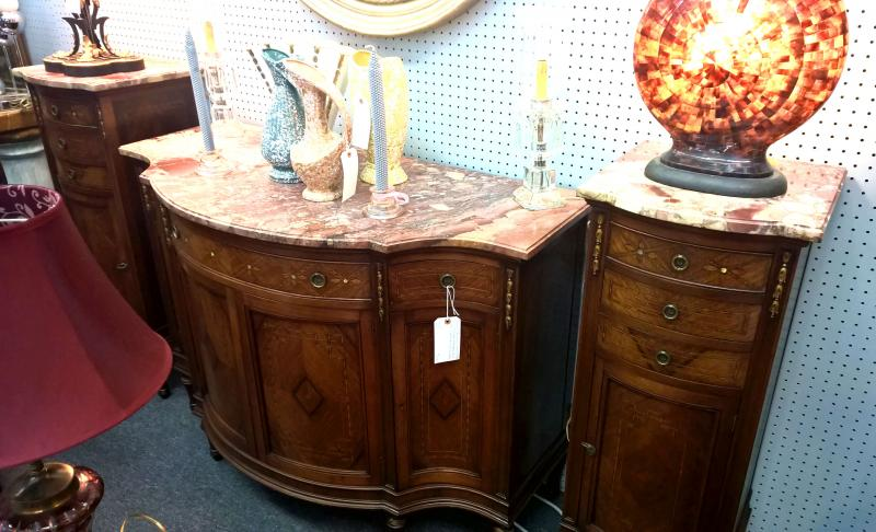 Antique French Louis XVI Marble Top Commode (sideboard) with a Matching Pair of