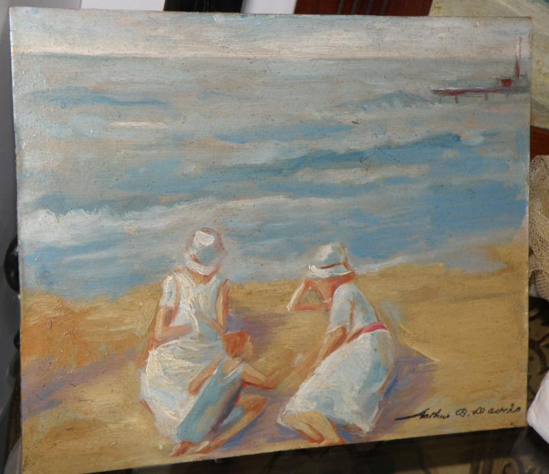Beachscape, Oil on Board. Signed Arthur Davies