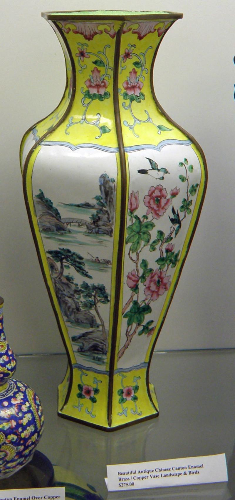 Beautiful Antique Chinese Canton Enamel Brass-Copper Vase Landscape and Birds