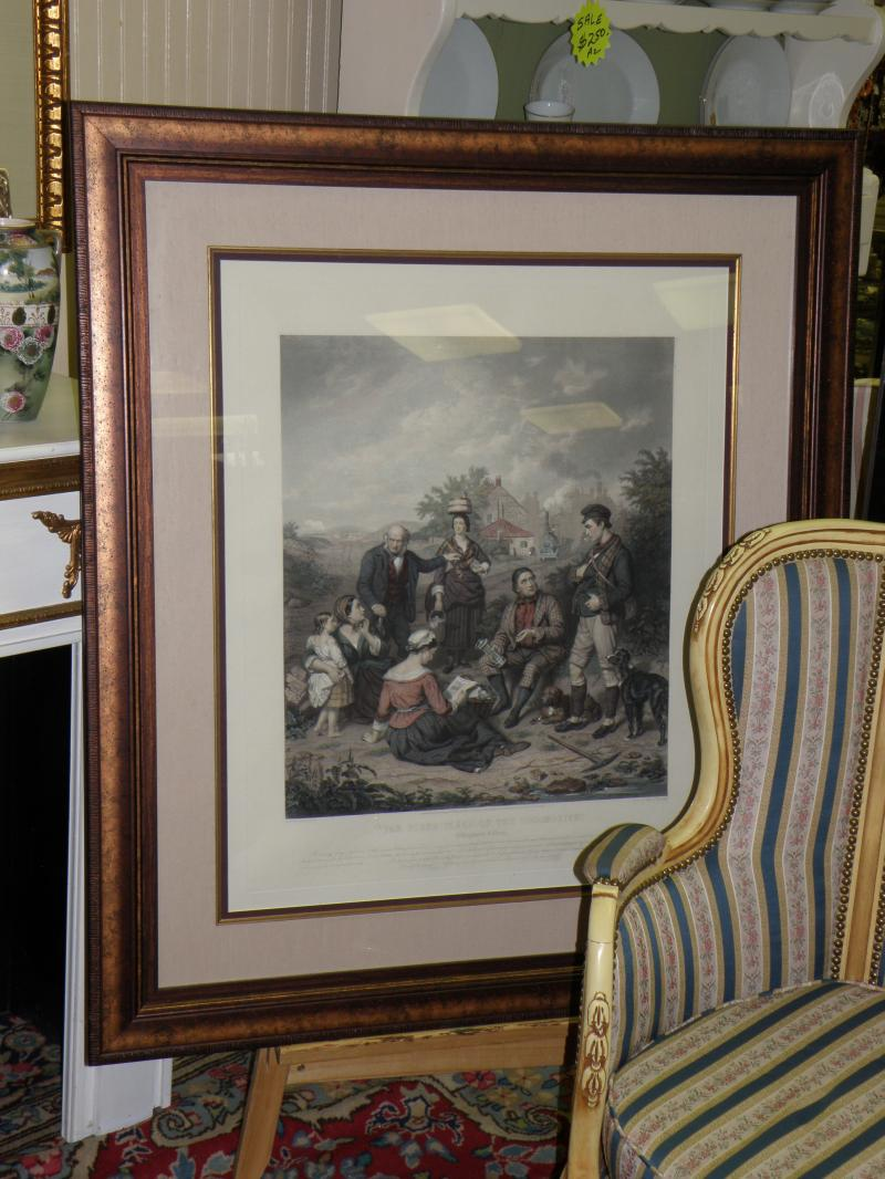 Birthplace of the Locomotive.  Large, framed engraving