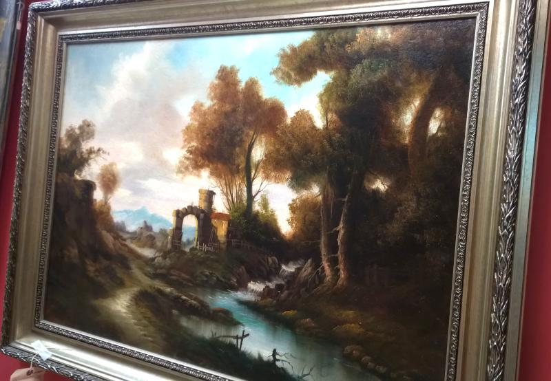 Early 19th Century Landscape oil on canvas by Vauceau
