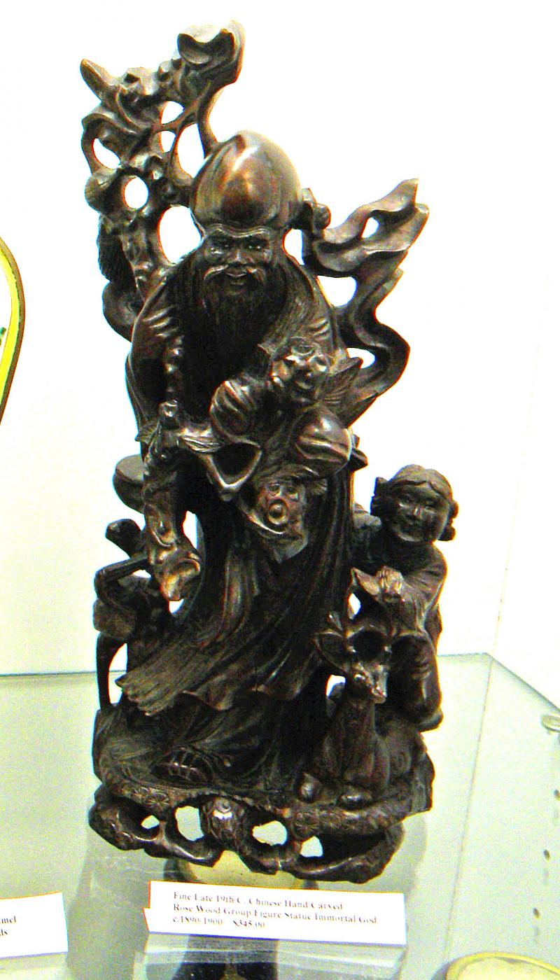 Fine Late 19th Century Chinese Hand Carved Rose Wood Group figure Statue Immorta