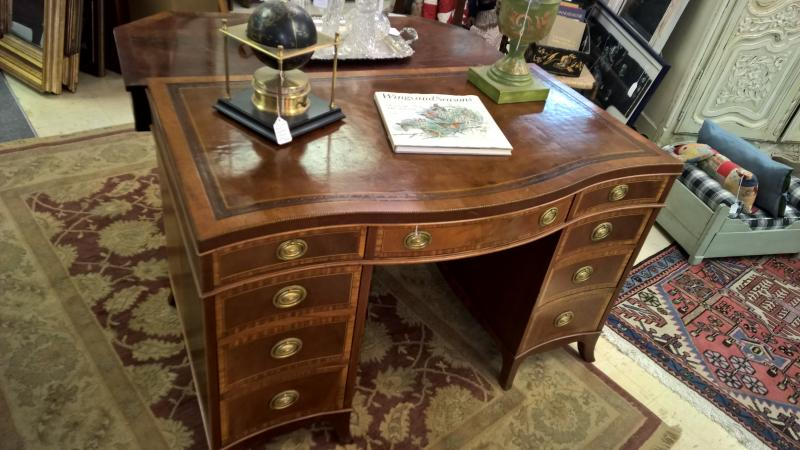 Inlaid, Carved Mahogany Leather Top Nottingham Sligh Antique Desk