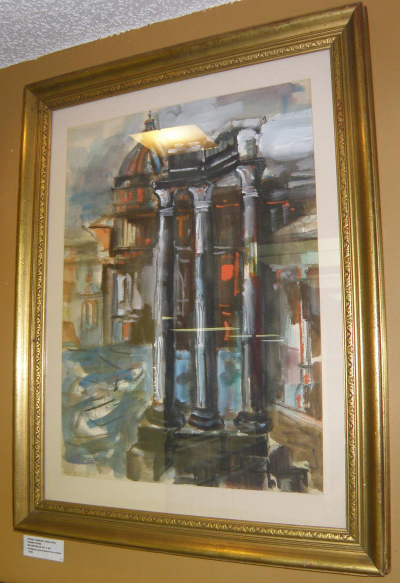 Irving Lehman (1900-1983)  Roman Ruins.  Watercolor. 26 x 20. Unsigned, guarante
