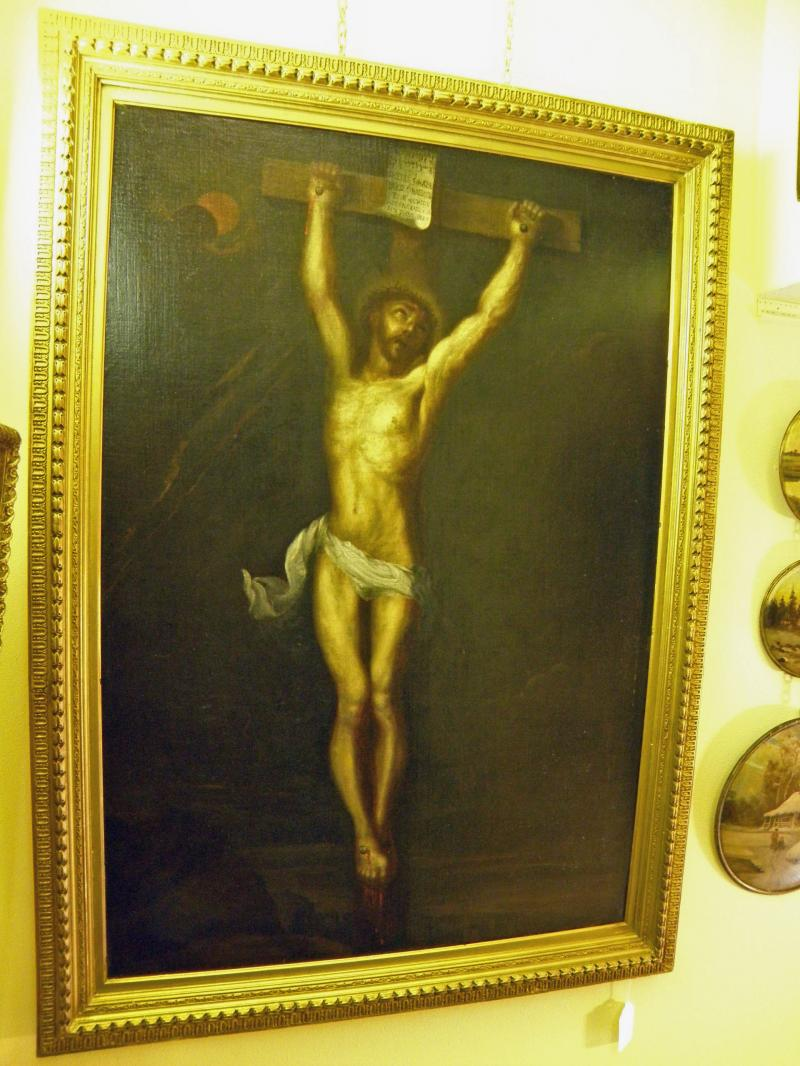 Jesus on Cross. 18th Century Old Master Oil on Canvas