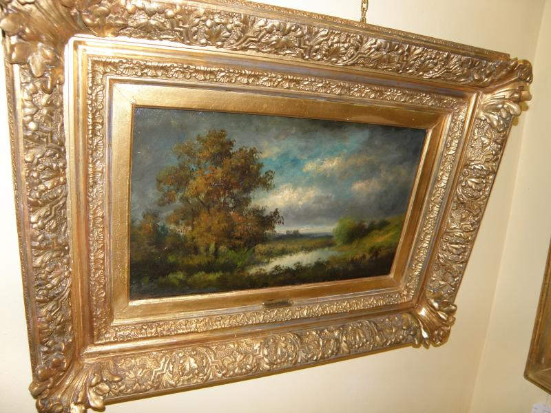 Landscape by French Impressionist Victor Dupre  Oil on wood panel  19th C
