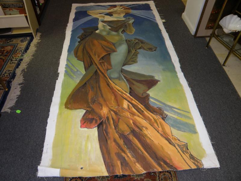 Large, unframed oil on canvas of lady in flowing dress  98' H x 52' W  52' W to