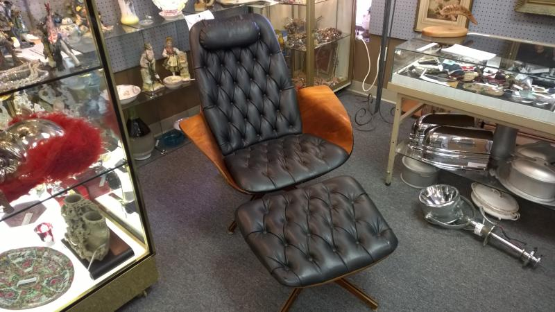 Mid Century Modern Chair and Ottoman by PlyCraft, designed by George Mulhauser