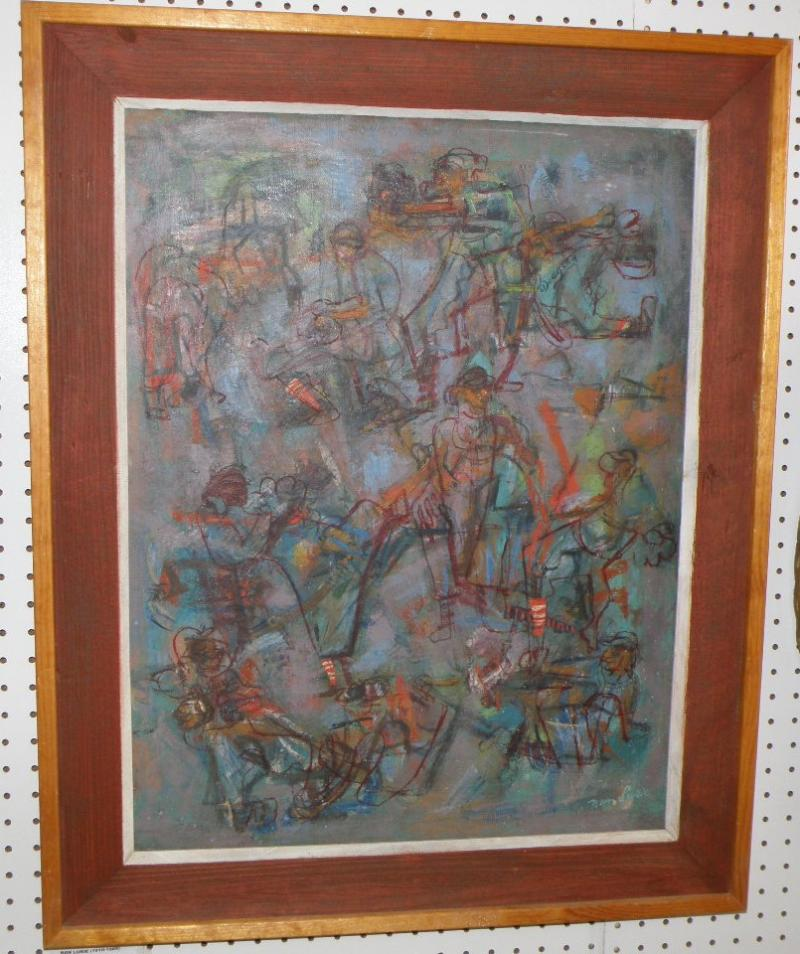 Nan Lurie 1910-1965 'Dodgers', oil on canvas 27 x 21, painting signed LR