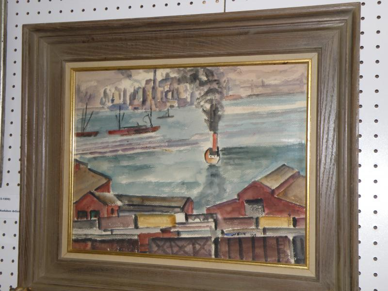 Nathaniel Dirk  1985-1961  New York Harbor watercolor