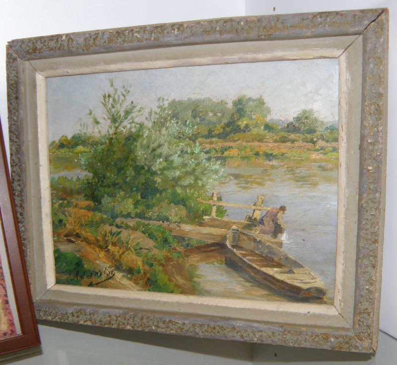 Oil on Canvas. Signed French. Stamped on back. Circa 1920's