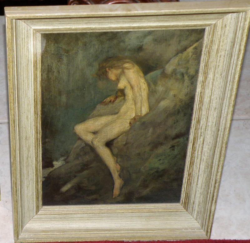 Oil on Canvas by American Listed Artist Warren B Davis of Nude by Waterfall, 14x