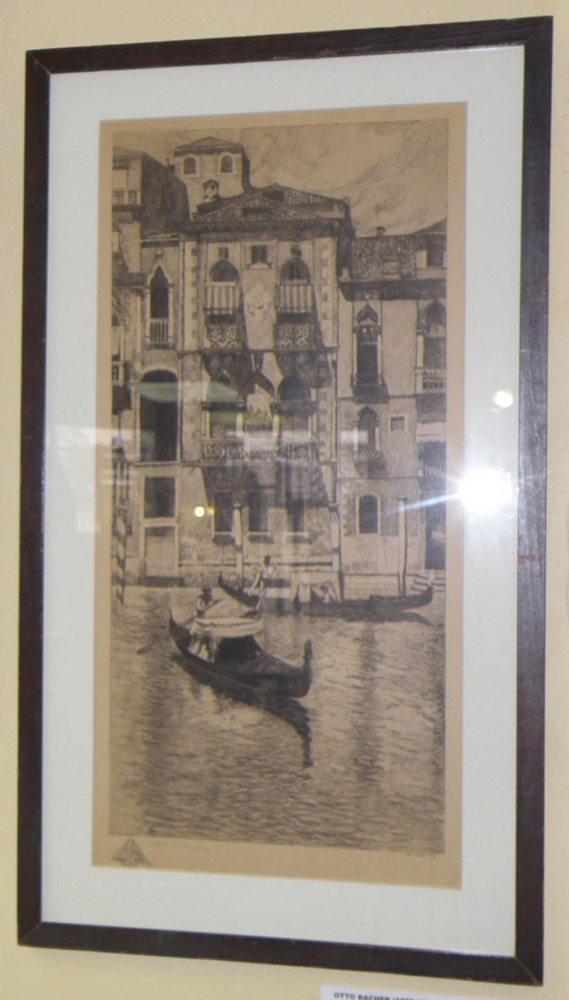 Otto Bacher (1856 - 1909), Palazzo in venice, etching  21 x 10  Signed in plate