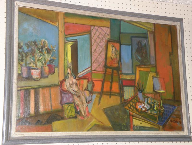 Otto Botto  1903-1968  'Artist's Studio'  Oil on board  24 x 36  Signed