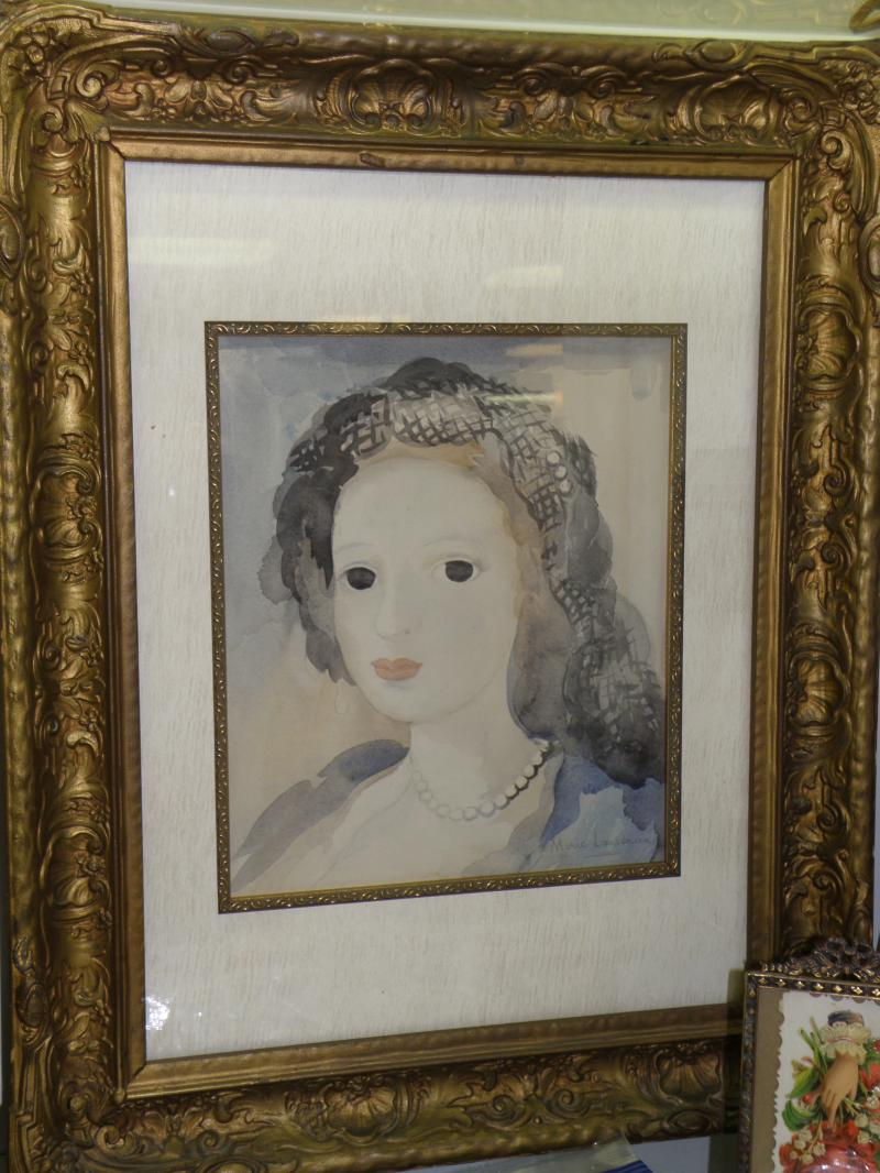 Marie Laurencin drawing on paper and placed on paper board, signed