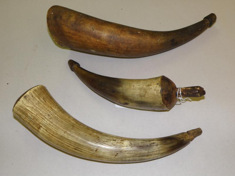 Three 17th-18th Century Powder Horns