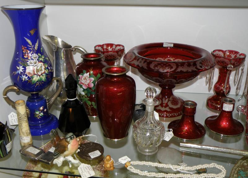 Pair Red Cloissone Vases and cranberry cut-to-clear console set