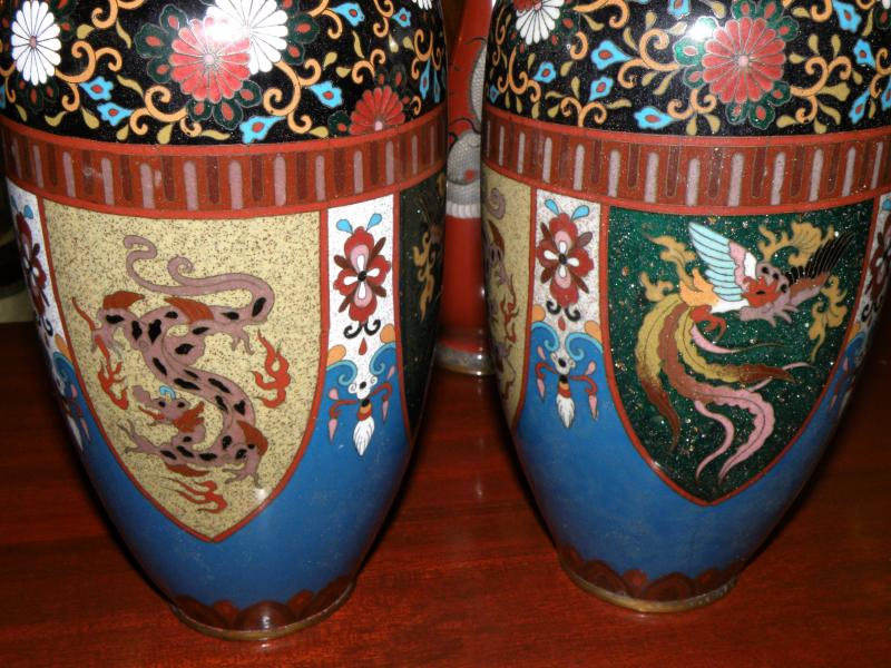 Pair of 19th Century Japanese Cloisonne Vases
