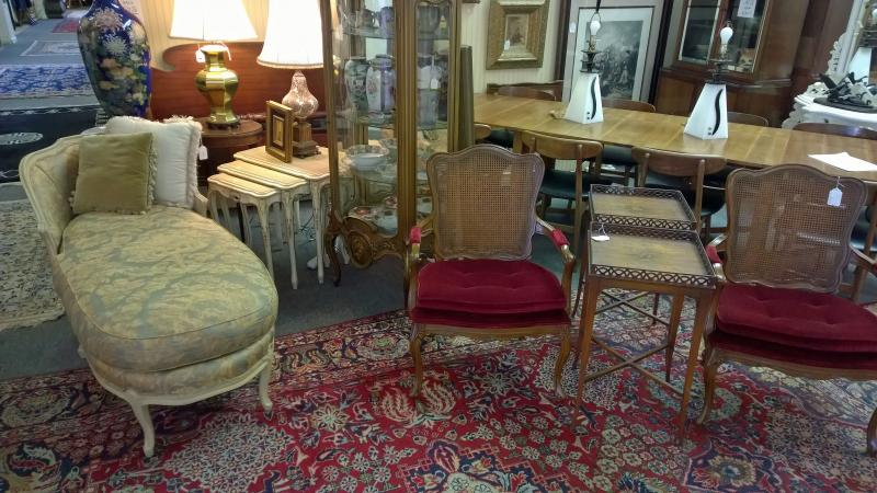 Pair of French Provincial chairs with cane backs