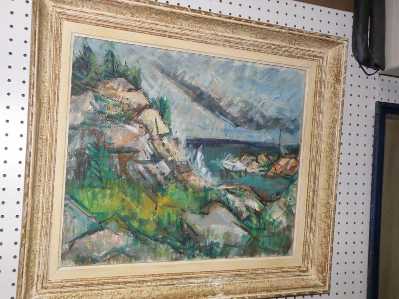Rose A. Jacobsen (Blue) 1891-1987  Coastal Scene  oil on canvas