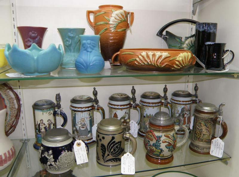 Roseville Pottery and German Beer Steins