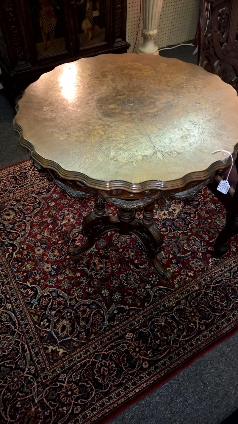 Highly Carved and Inlaid Lamp  Table
