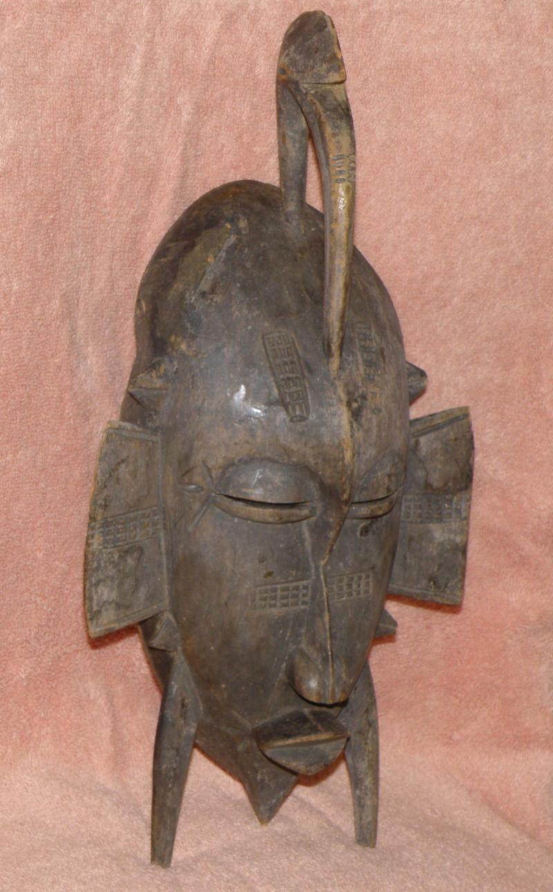 "Senufo or Senafu or Senofu Ivory Coast African mask. Bird Signifies ""God of Spir"