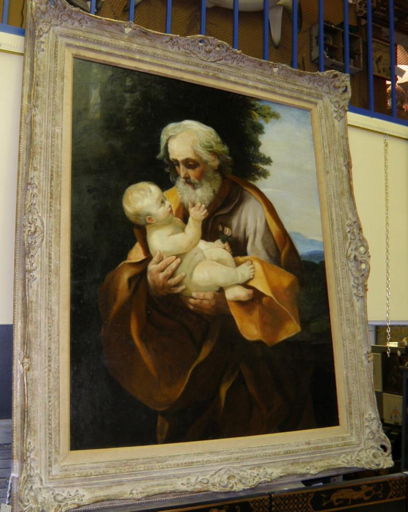 St. Joseph with Child. 19th C. oil on canvas