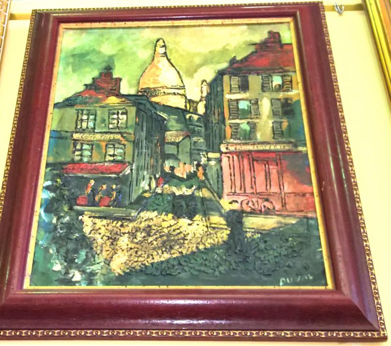 Street View Abstract Painting by Romanian Listed Artist V. Duval