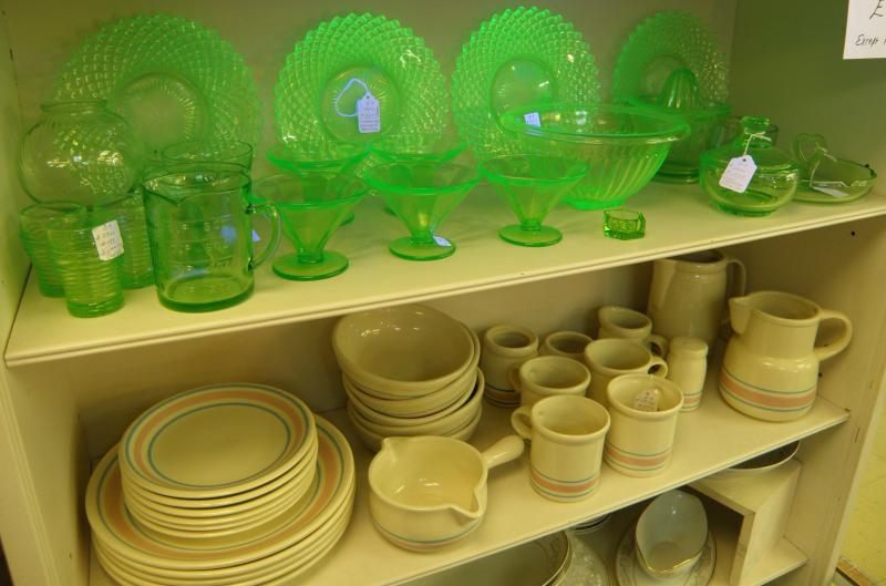 Vasaline Glass and McCoy Dishes