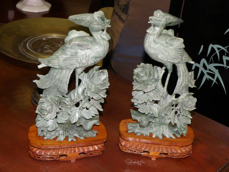 Vintage Carved Chinese Mirror Image Birds
