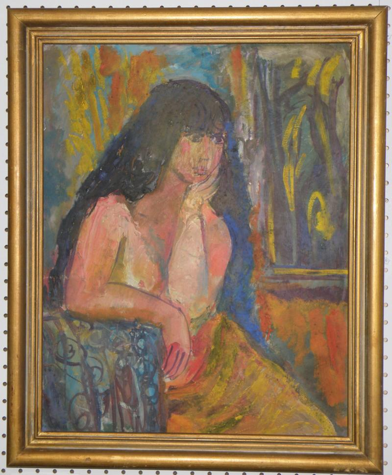 Woman in Interior, Oil on Board 23 x 18, attributed to Ludwig Bemelmans