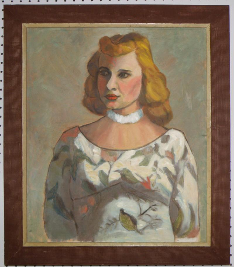 Woman with Floral Dress, Oil on Canvas  23 x 19,  Woodstock, NY artist.  Ca. 194