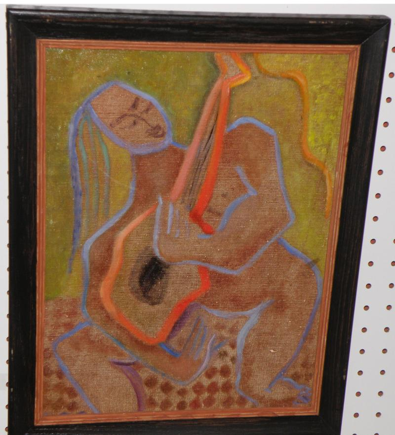 Woman with Instrument,  Oil on Board  16 x 12, Woodstock, NY artist  Ca. 1940